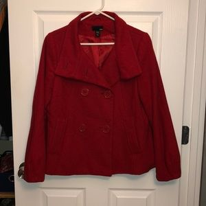 H&M red wool peacoat size 10 Great Condition